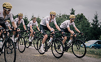 Team SKY (with Geraint Thomas still in their mids) leading the peloton up the first HC climb of the day; the Col de la Biche (10.5km @9%)<br /> <br /> 104th Tour de France 2017<br /> Stage 9 - Nantua › Chambéry (181km)