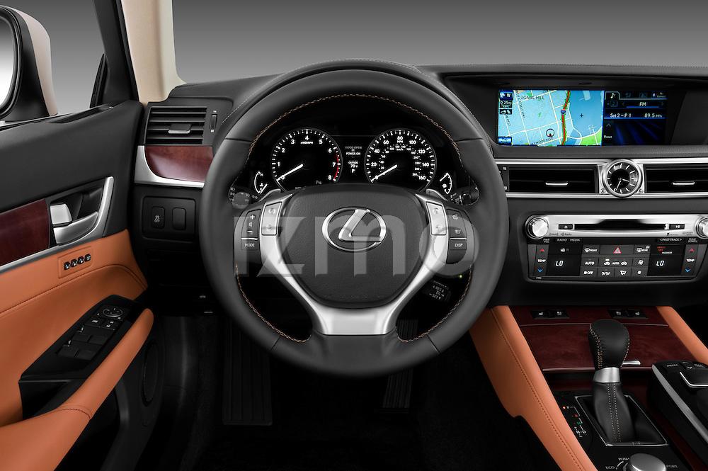 Steering wheel view of a 2013 Lexus GS 350