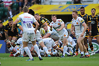 Will Chudley of Exeter Chiefs passes during the Premiership Rugby Final at Twickenham Stadium on Saturday 27th May 2017 (Photo by Rob Munro)