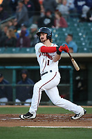 Brendan Rodgers (1) of the Lancaster JetHawks bats against the Stockton Ports at The Hanger on May 12, 2017 in Lancaster, California. Lancaster defeated Stockton, 7-2. (Larry Goren/Four Seam Images)