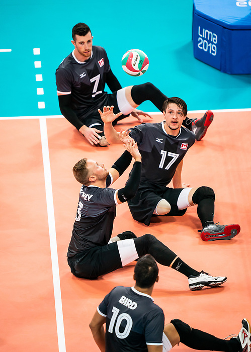 Austin Hinchey and Matteo Lisoway, Lima 2019 - Sitting Volleyball // Volleyball assis.<br /> Canada competes in men's Sitting Volleyball // Canada participe au volleyball assis masculin. 25/08/2019.
