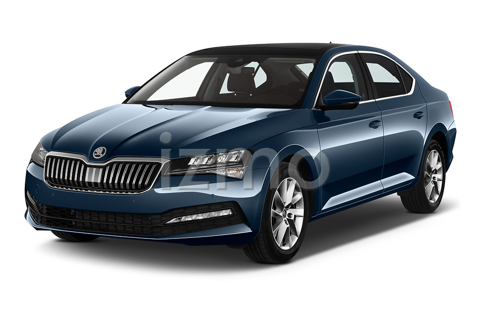 2020 Skoda Superb Ambition 5 Door Hatchback angular front stock photos of front three quarter view