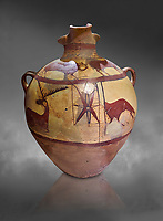 Phrygian terra cotta large jug with handles, decorated with animals, from Gordion. Phrygian Collection, 6th century BC -Museum of Anatolian Civilisations Ankara. Turkey. Against a grey background