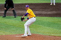 LSU Tigers starting pitcher AJ Labas (26) delivers a pitch to the plate against the Tennessee Volunteers on Robert M. Lindsay Field at Lindsey Nelson Stadium on March 28, 2021, in Knoxville, Tennessee. (Danny Parker/Four Seam Images)