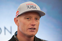 25 July 2015: Jimmy Spithill, skipper Oracle Team USA, speaks to the media after the America's Cup first round racing off Portsmouth, England (Photo by Rob Munro)