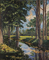 BNPS.co.uk (01202) 558833. <br /> Pic: PhillipsAuctioneers/BNPS<br /> <br /> A lost painting by Winston Churchill has sold for over £1.3million.<br /> <br /> The British wartime prime minister produced the oil on canvas artwork of a Norfolk wooded glen entitled 'The Moat, Breccles' in 1921.<br /> <br /> He kept hold of it for 40 years before gifting it to Greek shipping magnate Aristotle Onassis in 1961 to mark their growing friendship.<br /> <br /> It proudly hung in the saloon of the Onassis yacht, the Christina, which he stayed on with his wife Clementine numerous times.<br /> <br /> Following Onassis' death in 1975, the yacht was sold by the family and the 30ins by 25ins painting which is signed 'WSC' went into storage, where it has remained for four decades. Now, a century after it was created, the family has sold it with auctioneers Phillips, of New York, US.