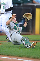 Beloit Snappers Jordan Devencenzi (41) slips while fielding a popup during the Midwest League game against the Clinton LumberKings at Ashford University Field on June 11, 2016 in Clinton, Iowa.  The LumberKings won 7-6.  (Dennis Hubbard/Four Seam Images)