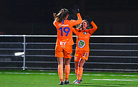 Lobke Loonen (19) of AA Gent pictured celebrating with Imani Prez (11) of AA Gent after scoring  during a female soccer game between  Racing Genk Ladies and AA Gent Ladies on the eleventh matchday of the 2020 - 2021 season of Belgian Scooore Womens Super League , friday 22 th of January 2021  in Genk , Belgium . PHOTO SPORTPIX.BE | SPP | DAVID CATRY