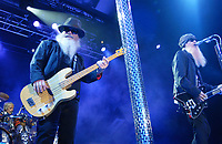 MAY 8: Frank Beard, Dusty Hill, and Billy Gibbons of ZZ Top perform at Chastain Park Amphitheatre in Atlanta on May 8, 2010. CREDIT: Chris McKay / MediaPunch