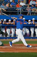 University of Florida Gators outfielder Austin Langworthy (44) at bat during a game against the Siena Saints at Alfred A. McKethan Stadium in Gainesville, Florida on February 17, 2018. Florida defeated Siena 10-2. (Robert Gurganus/Four Seam Images)