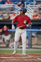 Mahoning Valley Scrappers left fielder Hosea Nelson (2) at bat during a game against the Batavia Muckdogs on August 30, 2017 at Dwyer Stadium in Batavia, New York.  Batavia defeated Mahoning Valley 5-1.  (Mike Janes/Four Seam Images)