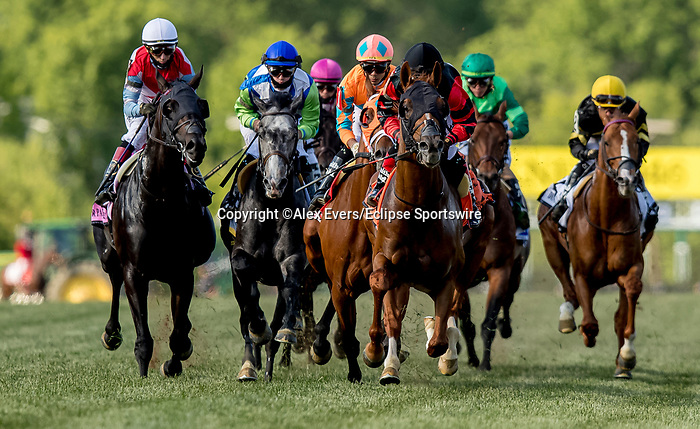 May 15, 2021 : Somelikeitbrown, #1, ridden by jockey Jose Ortiz, wins the Dinner Party Stakes on Preakness Stakes Day at Pimlico Race Track in Baltimore, Maryland on May 15, 2021. Alex Evers/Eclipse Sportswire/CSM