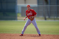 St. Louis Cardinals Luke Dykstra (8) during a minor league Spring Training game against the New York Mets on March 28, 2017 at the Roger Dean Stadium Complex in Jupiter, Florida.  (Mike Janes/Four Seam Images)