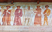 "The Church of San Vigilio in Pinzolo and its fresco paintings ""Dance of Death"" painted by Simone Baschenis of Averaria in1539, Pinzolo, Trentino, Italy"