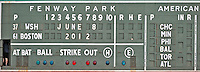 8 June 2012: The scoreboard at Fenway is ready to start the inter league series between the Washington Nationals and the \Boston Red Sox at Fenway Park in Boston, MA. The Nationals defeated the Red Sox 7-4 in the opening game of their 3-game series. Mandatory Credit: Ed Wolfstein Photo