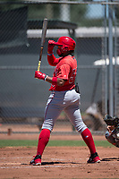 Los Angeles Angels third baseman Kevin Maitan (53) at bat during an Extended Spring Training game against the Giants Black at the San Francisco Giants Training Complex on May 25, 2018 in Scottsdale, Arizona. (Zachary Lucy/Four Seam Images)