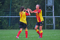 20200819, Sint-Amandsberg , GENT , BELGIUM : Lens's forward Maral Artin (7) and Lens's midfielder Marie Hannedouche (11) celebrates the 0-1 scored by Marie pictured during a friendly soccer game between KAA Gent ladies and RC Lens ladies in the preparations for the coming season 2020 - 2021 of Belgian Women's SuperLeague and French second division , Wednesday 19 th of August 2020 in JAGO Sint-Amandsberg / Gent, Belgium . PHOTO SPORTPIX.BE | STIJN AUDOOREN