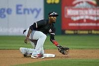 Travis Demeritte (2) of the Desert Mavericks waits for a throw to second base during a game against the Rancho Cucamonga Quakes at LoanMart Field on April 30, 2016 in Rancho Cucamonga, California. Rancho Cucamonga defeated High Desert, 7-6. (Larry Goren/Four Seam Images)