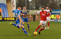 Fleetwood Town's James Wallace vies for possession with Shrewsbury Town's James Bolton<br /> <br /> Photographer Kevin Barnes/CameraSport<br /> <br /> The EFL Sky Bet League One - Shrewsbury Town v Fleetwood Town - Tuesday 1st January 2019 - New Meadow - Shrewsbury<br /> <br /> World Copyright © 2019 CameraSport. All rights reserved. 43 Linden Ave. Countesthorpe. Leicester. England. LE8 5PG - Tel: +44 (0) 116 277 4147 - admin@camerasport.com - www.camerasport.com