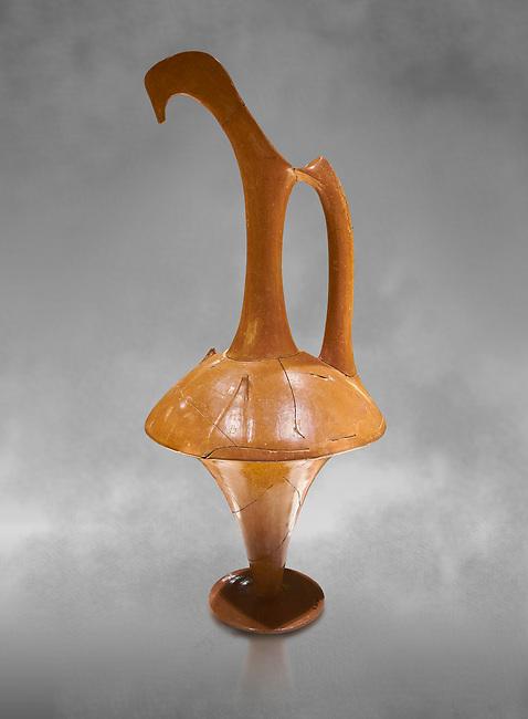 Hittite terra cotta long neck pitcher - 16th century BC - Hattusa ( Bogazkoy ) - Museum of Anatolian Civilisations, Ankara, Turkey . Against grey art background