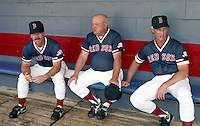 Boston Red Sox coaches Gary Allenson, Don Zimmer and Butch Hobson during spring training circa 1992 at Chain of Lakes Park in Winter Haven, Florida.  (MJA/Four Seam Images)