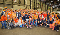 Switserland, Genève, September 20, 2015, Tennis,   Davis Cup, Switserland-Netherlands, Dutch team posing with Dutch supporters<br /> Photo: Tennisimages/Henk Koster