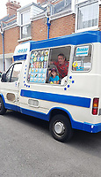 BNPS.co.uk (01202) 558833<br /> Pic: KevinBetteridge/BNPS<br /> <br /> Kevin with his nephew Rocco<br /> <br /> Ice cream man Kevin Bettteridge makes an epic 750 mile round trip to the seaside to sell his goods.<br /> <br /> Kevin lives in Newcastle but drives 10 hours to Swanage, Dorset, every summer. <br /> <br /> His parents moved to the south coast 25 years ago and the 64-year-old spends three weeks of the year visiting them.