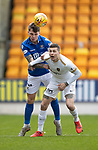 St Johnstone v Livingston…..07.03.20   McDiarmid Park  SPFL<br />Jason Kerr clears from Lyndon Dykes<br />Picture by Graeme Hart.<br />Copyright Perthshire Picture Agency<br />Tel: 01738 623350  Mobile: 07990 594431