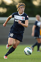 Sky Blue FC midfielder Sophie Schmidt (16). Sky Blue FC defeated the Washington Spirit 1-0 during a National Women's Soccer League (NWSL) match at Yurcak Field in Piscataway, NJ, on August 3, 2013.