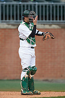 Charlotte 49ers catcher Nick Daddio (20) gives defensive signs during the game against the Florida Atlantic Owls at Hayes Stadium on March 14, 2015 in Charlotte, North Carolina.  The Owls defeated the 49ers 8-3 in game one of a double header.  (Brian Westerholt/Four Seam Images)