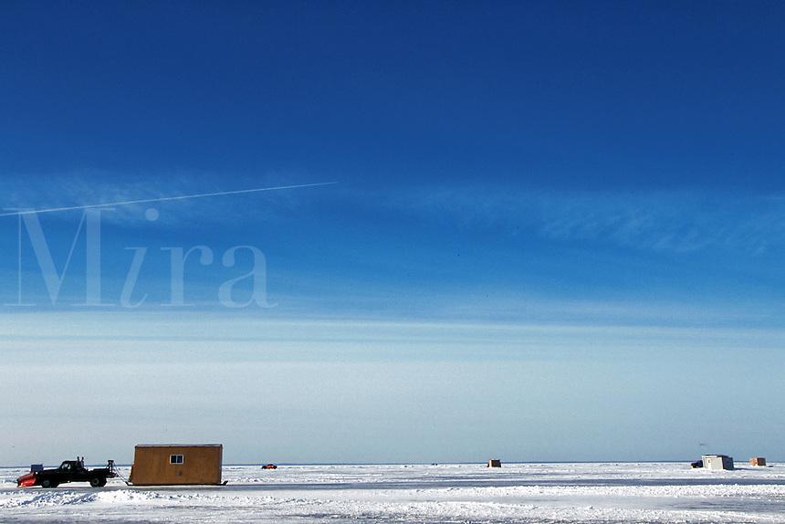 Driving on plowed roads across frozen lake, Lake Mille Lacs, Minnesota