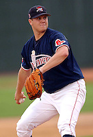 Boston Red Sox' RHP Jonathan Papelbon in action with the Lowell Spinners, the short season A ball affiliate of the Boston Red Sox at Edward LeLacheur Park in Lowell,MA in 2003 (Photo by Ken Babbitt/Four Seam Images)