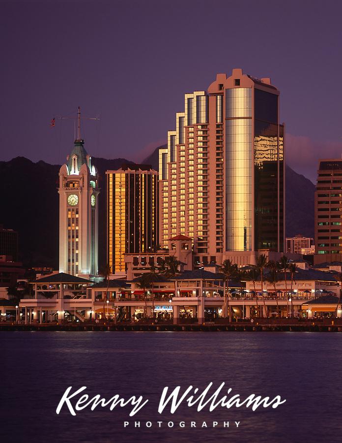 Aloha Tower Marketplace at Night, Honolulu, Oahu, Hawaii, USA.