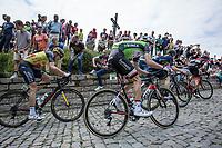 Overall leader and later GC winner Tom Dumoulin (NED/Sunweb) up the infamous Kapelmuur (muur van Geraardsbergen)<br /> <br /> Binckbank Tour 2017 (UCI World Tour)<br /> Stage 7: Essen (BE) > Geraardsbergen (BE) 191km