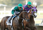 September 20, 2014:  C J's Awesome (left, with Edgar Prado) and California Chrome (Victor Espinoza up) follow pace setter Bayern as the field heads toward the first turn in the Grade II Pennsylvania Derby at Parx Racing in Bensalem, PA.  Joan Fairman Kanes/ESW/CSM