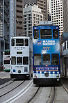 People's Republic of China, Hong Kong: Double decked tramcars along Bank Street | Volksrepublik China, Hongkong: Doppeldecker-Strassenbahnen in der Bank Street