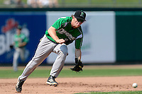 Dayton Dragons third baseman Tanner Rahier (8) during a game against the Lansing Lugnuts on August 25, 2013 at Cooley Law School Stadium in Lansing, Michigan.  Dayton defeated Lansing 5-4 in 11 innings.  (Mike Janes/Four Seam Images)
