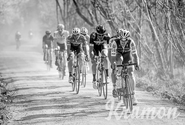 Matteo Trentin (ITA/QuickStep Floors) racing over the 'Plugstreets' gravel roads<br /> <br /> 79th Gent-Wevelgem 2017 (1.UWT)<br /> 1day race: Deinze › Wevelgem - BEL (249km)