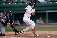 Right fielder Tyler Esplin (25) of the Greenville Drive during a game against the Bowling Green Hot Rods on Wednesday, May 5, 2021, at Fluor Field at the West End in Greenville, South Carolina. The catcher is Blake Hunt (12). (Tom Priddy/Four Seam Images)