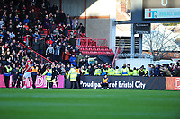 fans of Swansea City and Bristol City clash during the Sky Bet Championship match between Bristol City and Swansea City at Ashton Gate in Bristol, England, UK. Monday 02 February 2019
