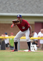 Mahoning Valley Scrappers first baseman Emmanuel Tapia (6) holds a runner on during a game against the Batavia Muckdogs on June 22, 2015 at Dwyer Stadium in Batavia, New York.  Mahoning Valley defeated Batavia 15-11.  (Mike Janes/Four Seam Images)