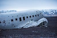 Wreck of a Douglas R4D-8 / Super DC-3 at the beach of Solheimasandur.<br /> The airplane of the US-Navy make a forced landing 21.11.1973.<br /> Wrack einer Douglas R4D-8 vom Typ Super DC-3 am Strand von Solheimasandur in Island.<br /> Die Maschine der US-Navy ist wegen Spirtmangel am 21. November 1973 am Strand von Solheimasandur notgelandet. Mittlerweile ist nur noch ein Teil des Rumpfes vorhanden.<br /> 17.3.2016, Solheimasandur<br /> Copyright: Christian-Ditsch.de<br /> [Inhaltsveraendernde Manipulation des Fotos nur nach ausdruecklicher Genehmigung des Fotografen. Vereinbarungen ueber Abtretung von Persoenlichkeitsrechten/Model Release der abgebildeten Person/Personen liegen nicht vor. NO MODEL RELEASE! Nur fuer Redaktionelle Zwecke. Don't publish without copyright Christian-Ditsch.de, Veroeffentlichung nur mit Fotografennennung, sowie gegen Honorar, MwSt. und Beleg. Konto: I N G - D i B a, IBAN DE58500105175400192269, BIC INGDDEFFXXX, Kontakt: post@christian-ditsch.de<br /> Bei der Bearbeitung der Dateiinformationen darf die Urheberkennzeichnung in den EXIF- und  IPTC-Daten nicht entfernt werden, diese sind in digitalen Medien nach §95c UrhG rechtlich geschuetzt. Der Urhebervermerk wird gemaess §13 UrhG verlangt.]