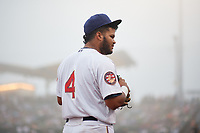 Brooklyn Cyclones third baseman Jose Peroza (4) during a NY-Penn League game against the Tri-City ValleyCats on August 17, 2019 at MCU Park in Brooklyn, New York.  Brooklyn defeated Tri-City 2-1.  (Mike Janes/Four Seam Images)