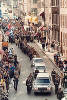 1987 FILE PHOTO - ARCHIVES -<br /> <br /> Funeral cortege: Crowds line the old city as Quebec police lead the hearse carrying former premier Rene Levesque from Quebec's National Assembly to a funeral service in Quebec city's Basilica.<br /> <br /> 1987<br /> <br /> PHOTO : Boris Spremo - Toronto Star Archives - AQP