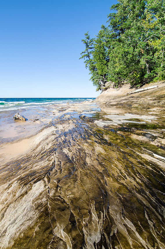 Layers of sandstone that make up Pictured Rocks Nat'l Lakeshore in Munising, MI.