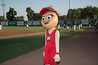 Modesto Nuts mascot Shelley the Pistachio interacts with fans before a California League game against the Lake Elsinore Storm at John Thurman Field on May 11, 2018 in Modesto, California. Modesto defeated Lake Elsinore 3-1. (Zachary Lucy/Four Seam Images)