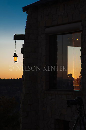 A lantern hanging outside the North Rim Lodge at Grand Canyon National Park in Arizona