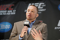 UFC Champion George Saint-Pierre (L) and Carlos Pundit (R) at the UFC upcoming  match's <br />  news conference, November 14, 2012.