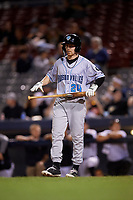 Hudson Valley Renegades center fielder Michael Smith (24) at bat during a game against the Connecticut Tigers on August 20, 2018 at Dodd Stadium in Norwich, Connecticut.  Hudson Valley defeated Connecticut 3-1.  (Mike Janes/Four Seam Images)