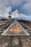 Catapult with scorched tire marks, the business end of the USS Carl Vinson (CVN 70).